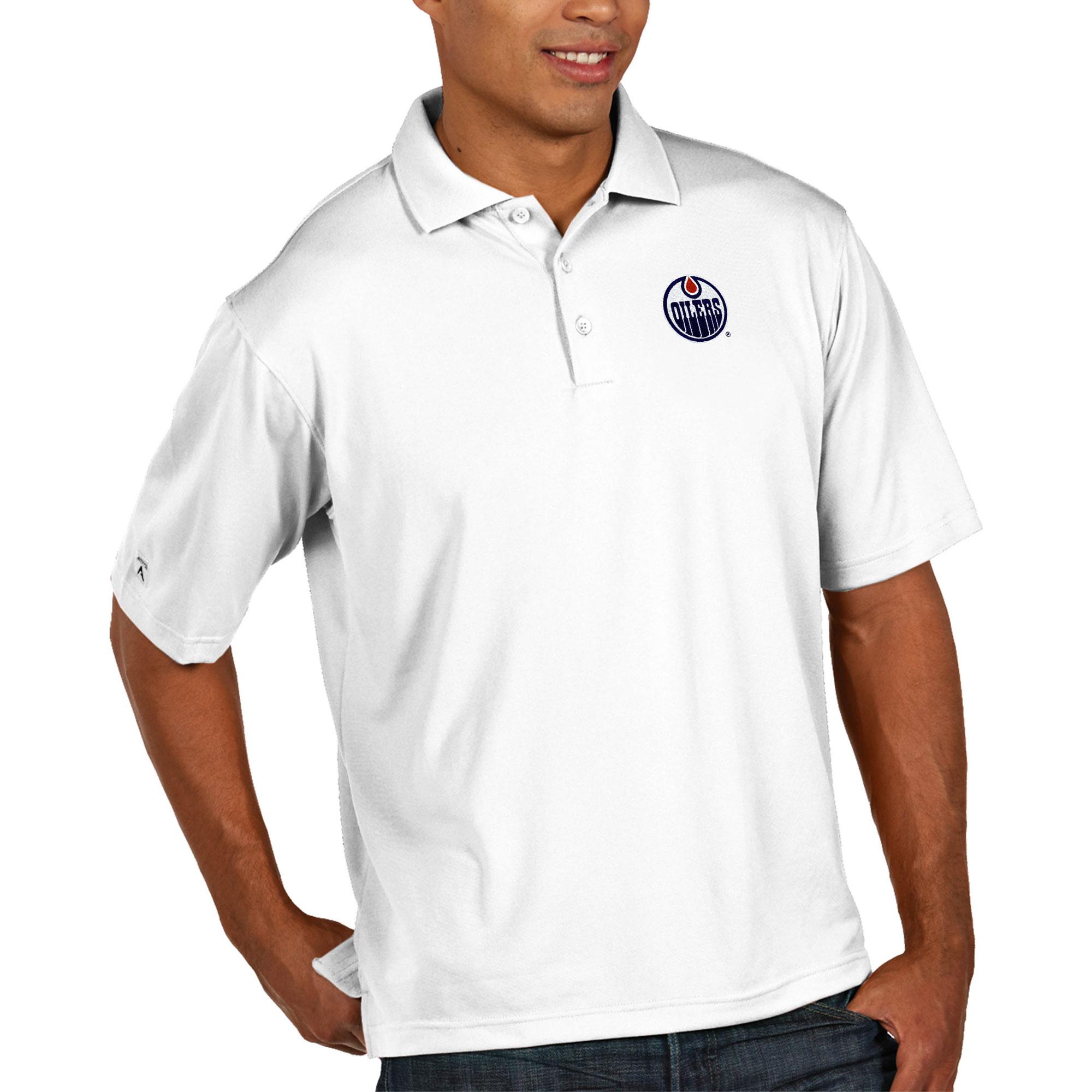 Edmonton Oilers Antigua Pique Xtra Lite Big & Tall Polo - White