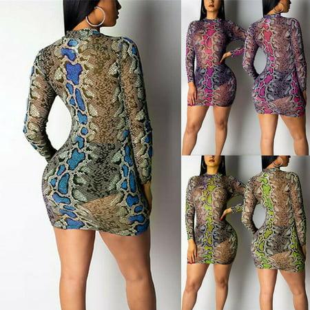 Multitrust Sexy Women Snake Printed Bodycon Mesh Sheer Long Sleeve Short Casual (Short Beaded Dress With Long Sheer Sleeves)