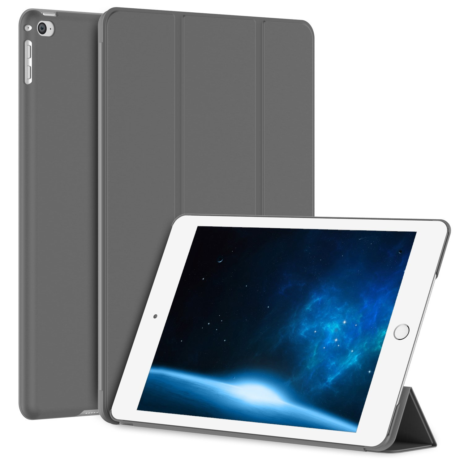 iPad Air 2 Case, SuprJETech® iPad Air 2 Slim-Fit Smart Case Cover for Apple iPad Air 2 (iPad 6) 2014 Model Ultra Slim Lightweight Stand with Smart Cover Auto Wake/Sleep (Black)