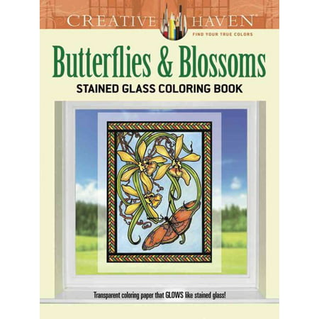 Butterflies & Blossoms Stained Glass Coloring Book