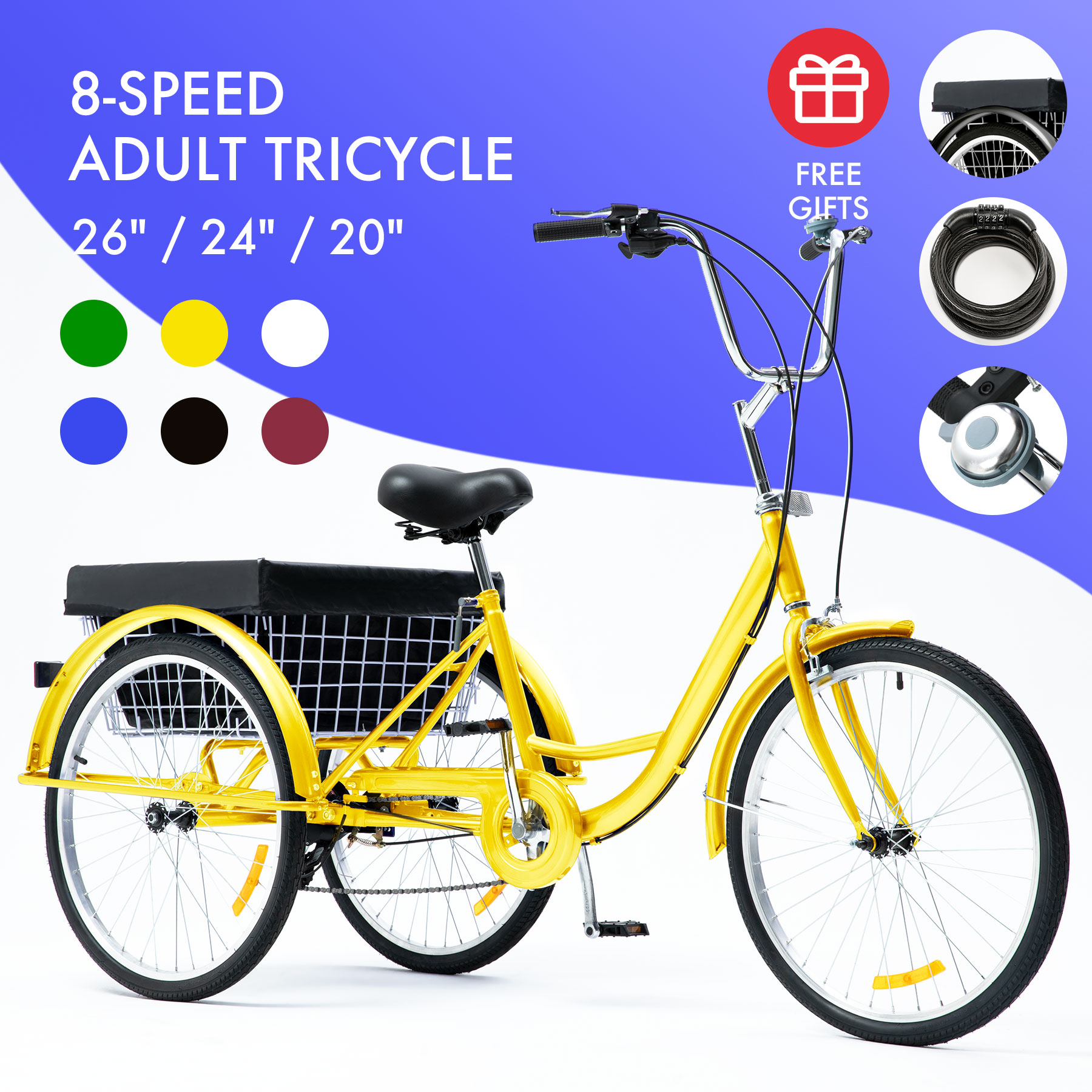 """Details about  /Adult Tricycle 26/"""" Wheel 7 Speed 3 Wheels White Bicycle Trike Cruiser w// Basket"""
