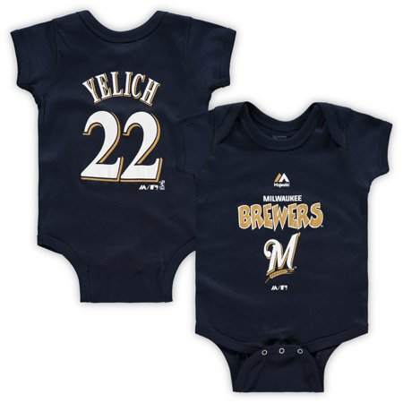 Christian Yelich Milwaukee Brewers Majestic Newborn & Infant Stitched Player Name & Number Bodysuit - Navy