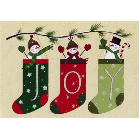 Image Arts Folk Art Snowman Stockings Box of 16 Christmas Cards ()