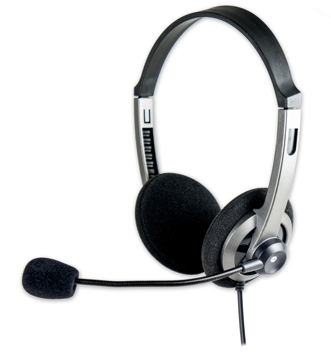 Connectland 3.5 mm Circum-aural Stereo Headset Headphone with Mic Silver/Black