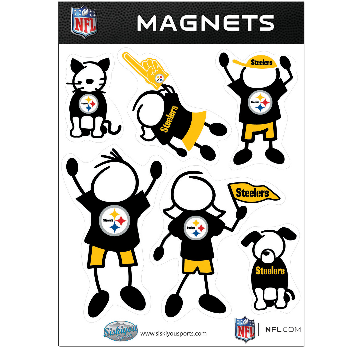 Pittsburgh Steelers Official NFL Family Magnet Set by Siskiyou 123870