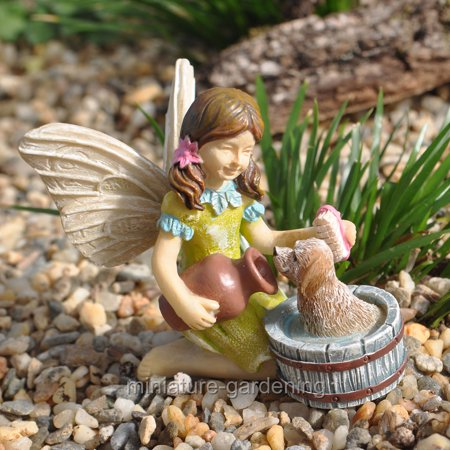 Miniature Fairy Katie with Scruffy the Puppy for Miniature Garden, Fairy Garden - Miniature Fairy Gardens