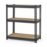 Hyper Tough 3-Level Steel Shelving System, Black