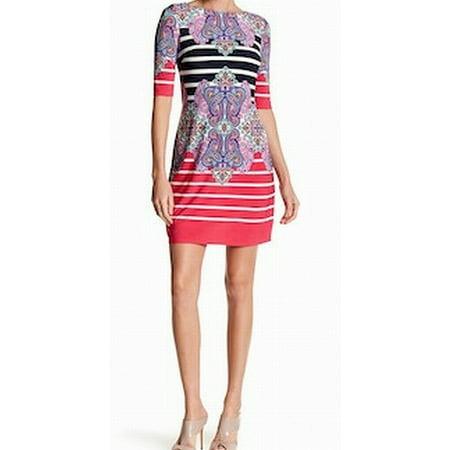 (Eliza J NEW Pink Womens Size 2 Striped Paisley Print Jersey Shift Dress)