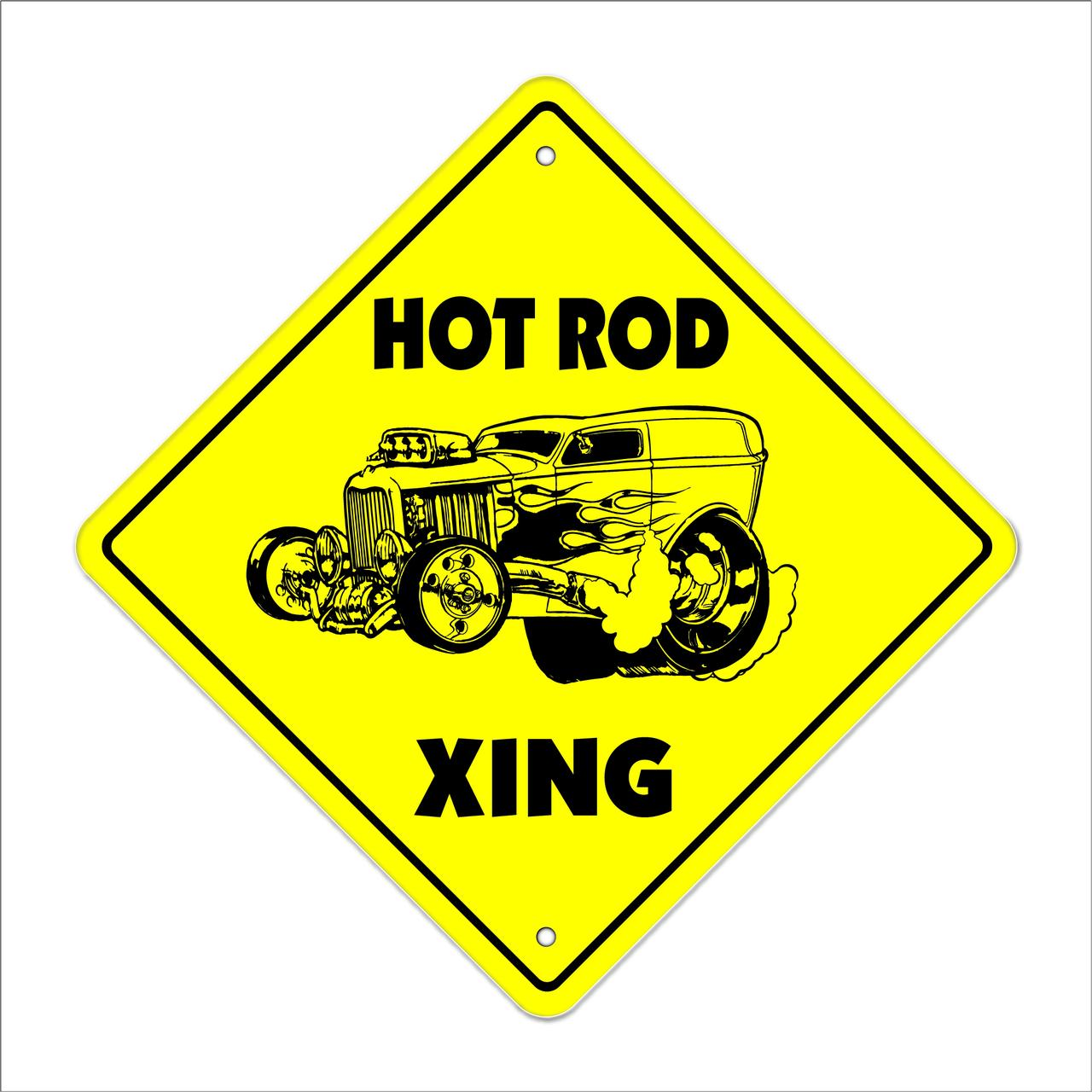 "Hotrod Crossing Sign Zone Xing | Indoor/Outdoor | 14"" Tall racing race car parts roadster racetrack track mechanic"
