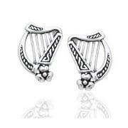 Sterling Silver Braided Irish Celtic Harp Post Earrings