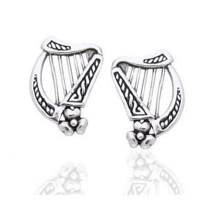 Sterling Silver Braided Irish Celtic Harp Post Earrings - Irish Wolfhound Earrings