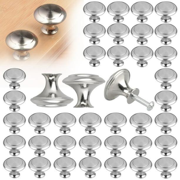 40 20pcs Kitchen Cabinet Heavy Pull S Eeekit Brushed Nickel Cupboard Door Hardware Round For Bathroom Drawer Silver