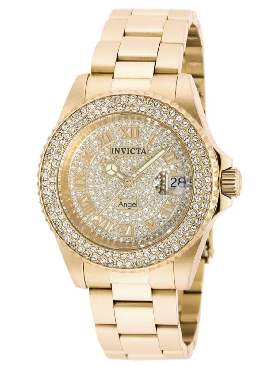 90255 Women's Angel Crystal Accented Bezel Gold Dial Yellow Gold Steel Bracelet Dive Watch