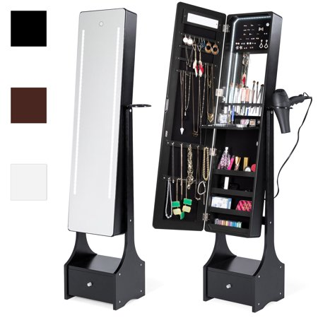 Best Choice Products Full Length Standing LED Mirrored Jewelry Makeup Storage Cabinet Armoire with Interior & Exterior Lights, Touchscreen, Shelf, Velvet Lining, 4 Compartments, Drawer, Black ()