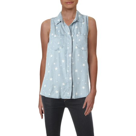 Velvet Heart Womens Star Tencel Printed Button-Down Top ()