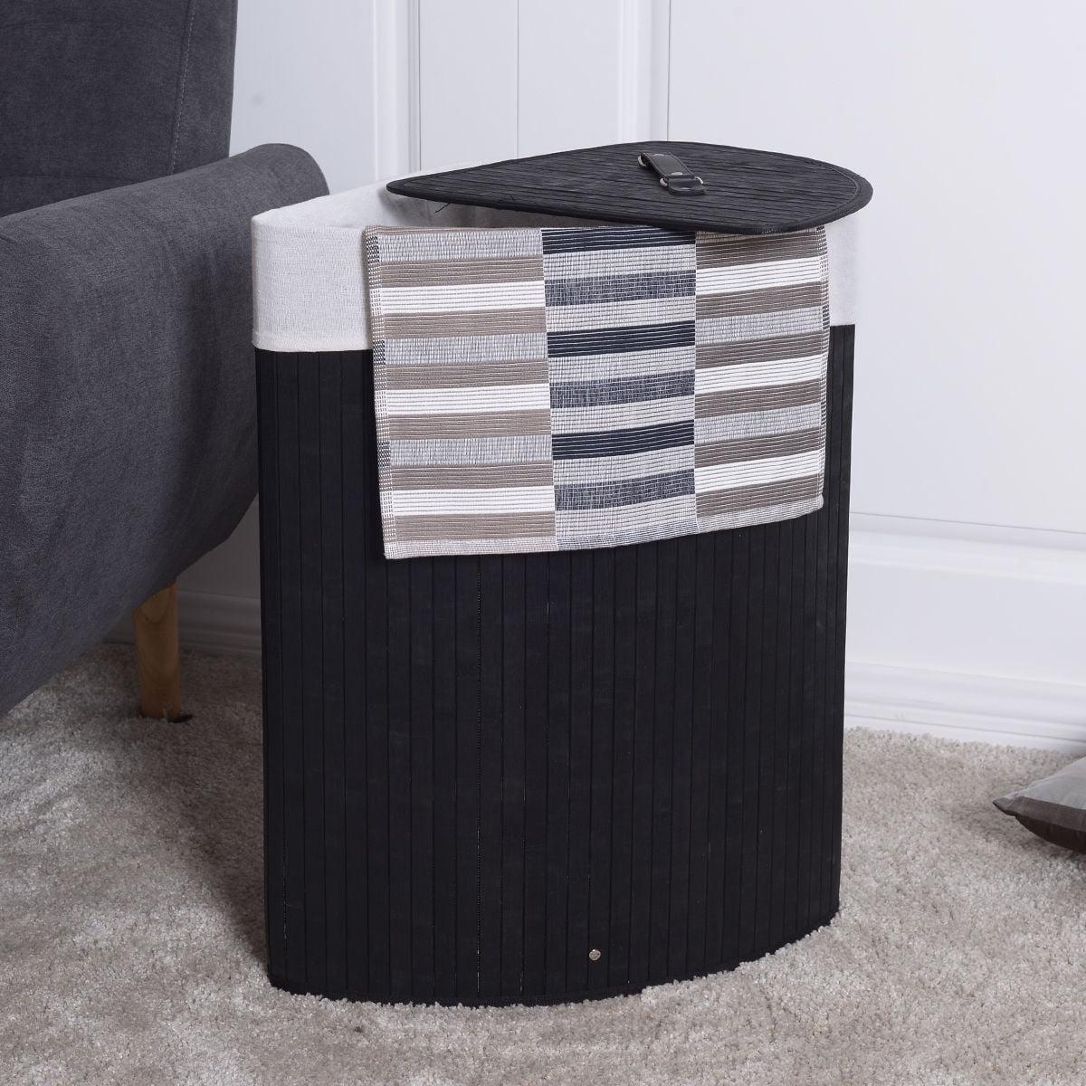 Costway Corner Bamboo Hamper Laundry Basket Washing Cloth Bin Storage Bag Lid Black by Costway