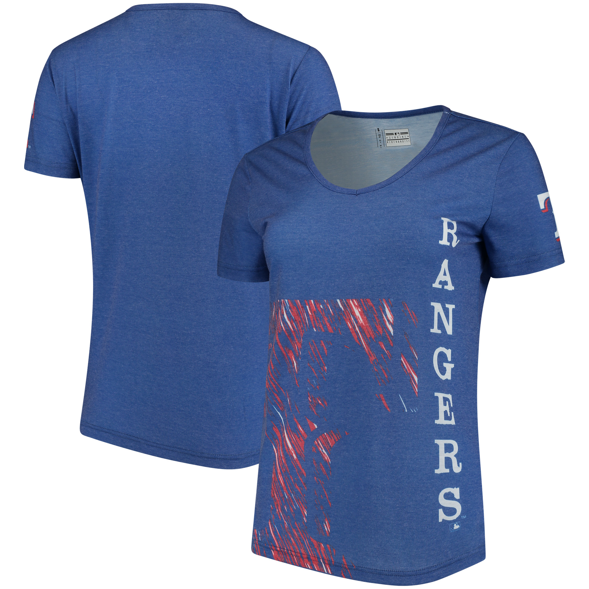Texas Rangers Women's Static Rain V-Neck T-Shirt - Royal