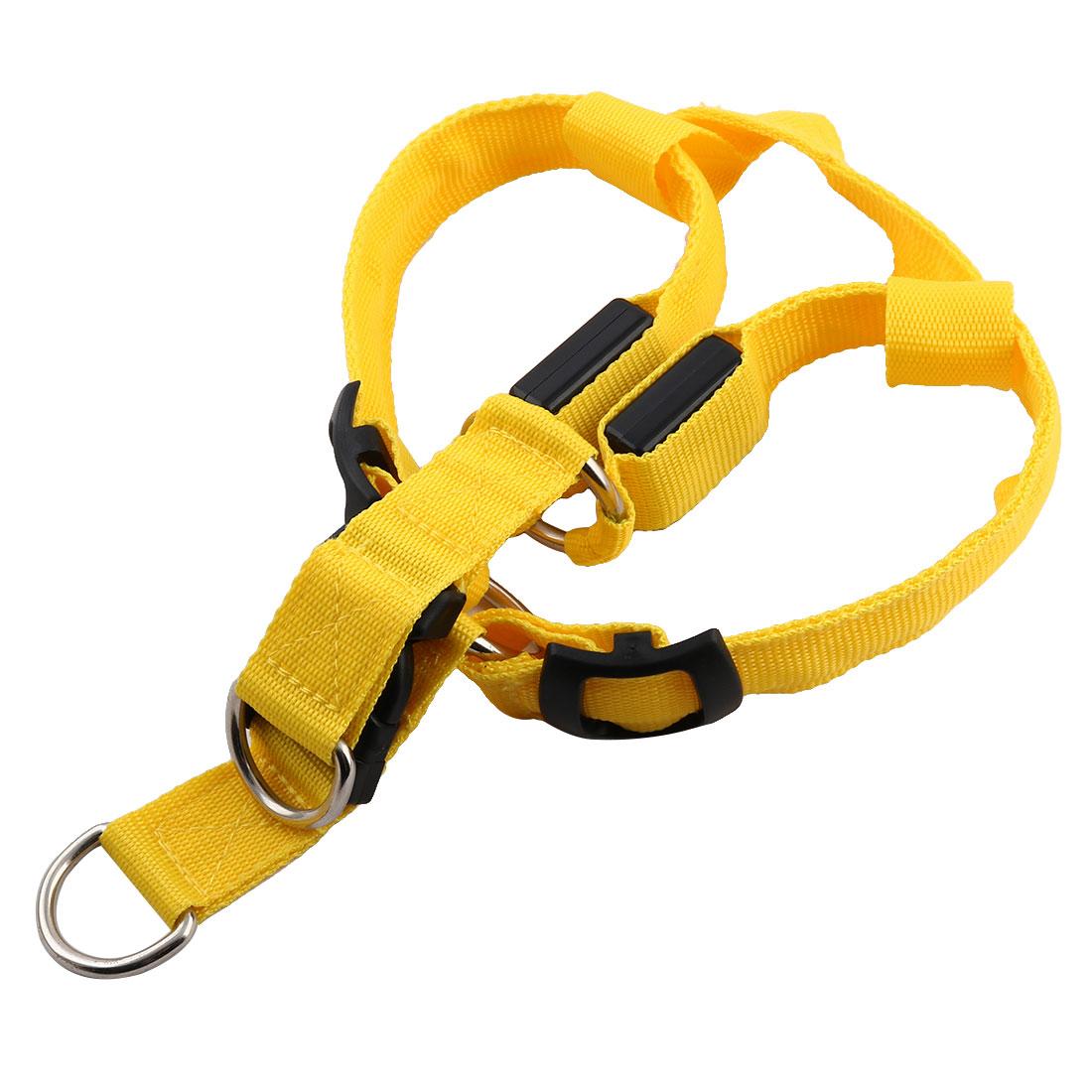 Pet Dog Nylon LED Flashing Light Night Safety Adjustable Chest Strap Yellow