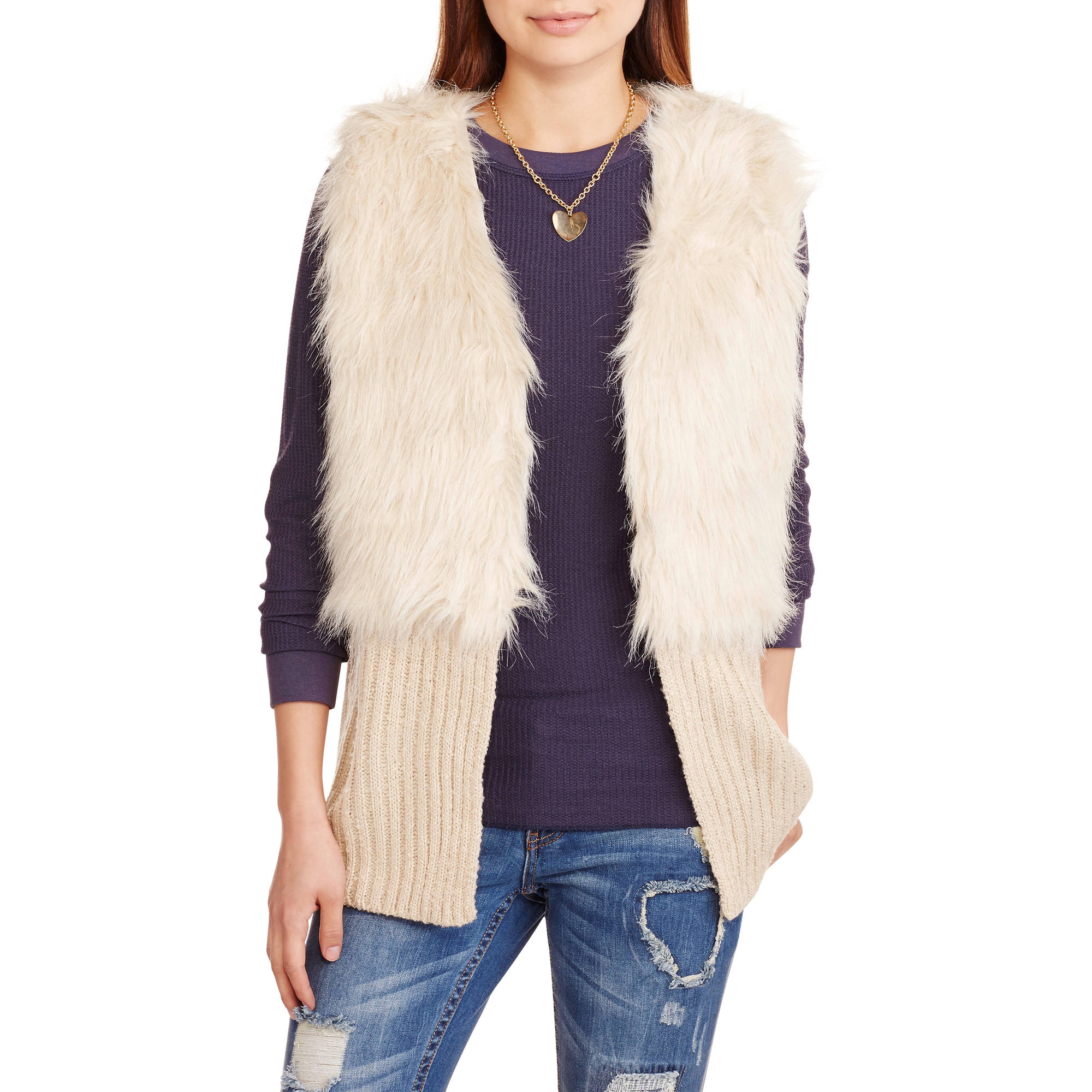 Derek Heart Juniors' Faux Fur Boucle Vest