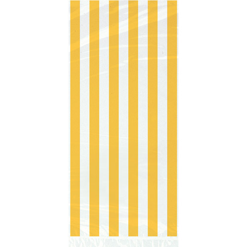 Yellow Striped Cello Bags, 20pk