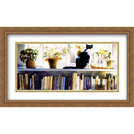 Bookends 2x Matted 40x24 Large Gold Ornate Framed Art Print by Steve Hanks