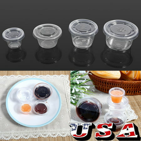 HURRISE Sauce Cup Plastic,50Pcs Disposable Plastic Clear Sauce Chutney Cups Boxes With Lid Food Takeaway - image 5 de 8