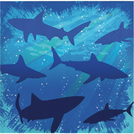 Party Creations Shark Splash Beverage Napkins, 16 Ct](Shark Party Plates)