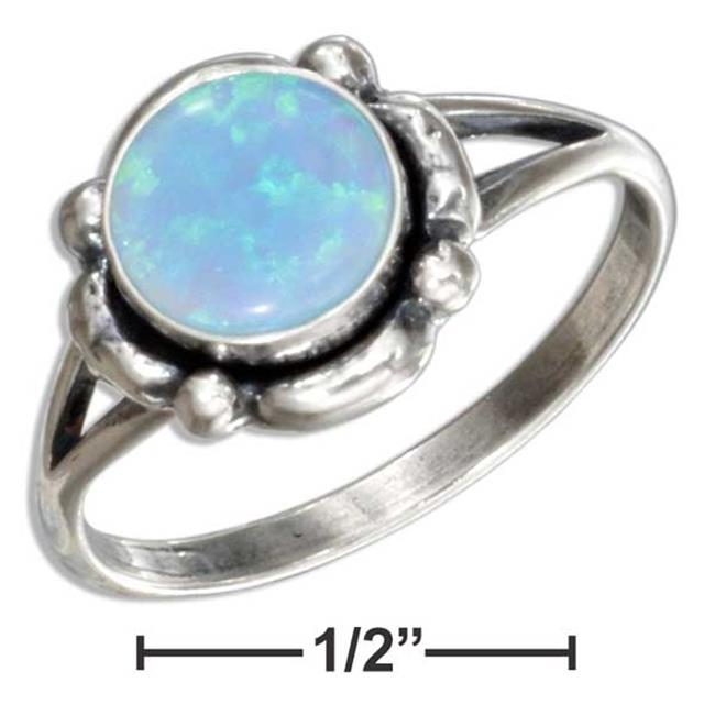 Plum Island Silver P-016909-07 7 in. Sterling Silver Scalloped Border Synthetic Round Blue Opal Ring - image 1 de 1