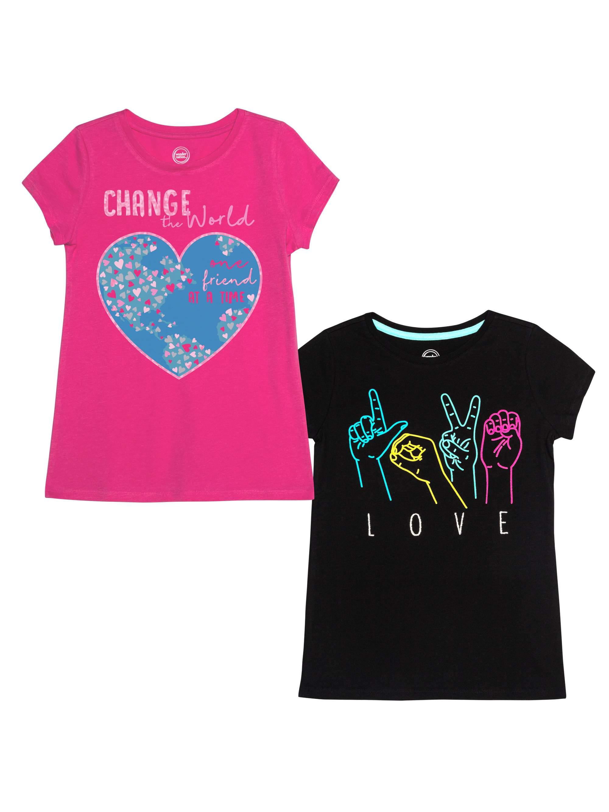 Graphic T-Shirts, 2-Pack (Little Girls & Big Girls)