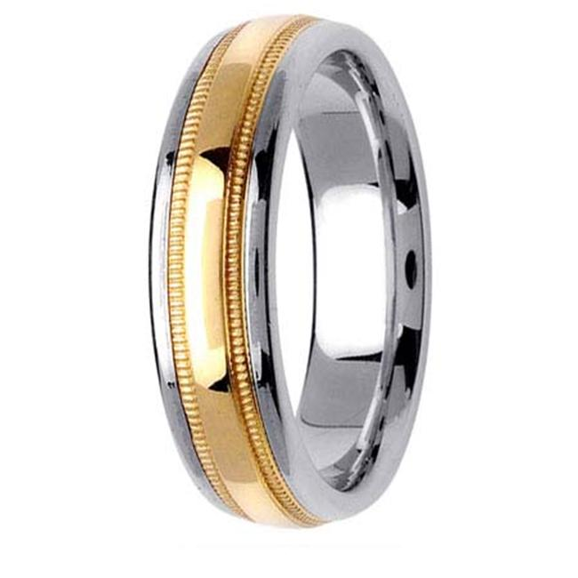 L. A.  Wedding 14KLAW1232-S6. 5 6mm 14K Two Tone Wedding Band - Size 6. 5
