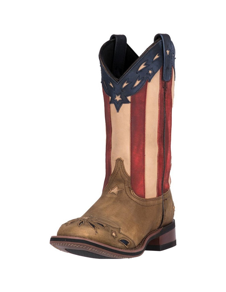 Laredo Western Boots Womens Flag Inlay Detailed Leather Brown 5665 by Laredo