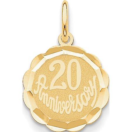 14k or jaune Joyeux 20?me anniversaire (15x22mm) Pendentif / Breloque - image 2 de 2