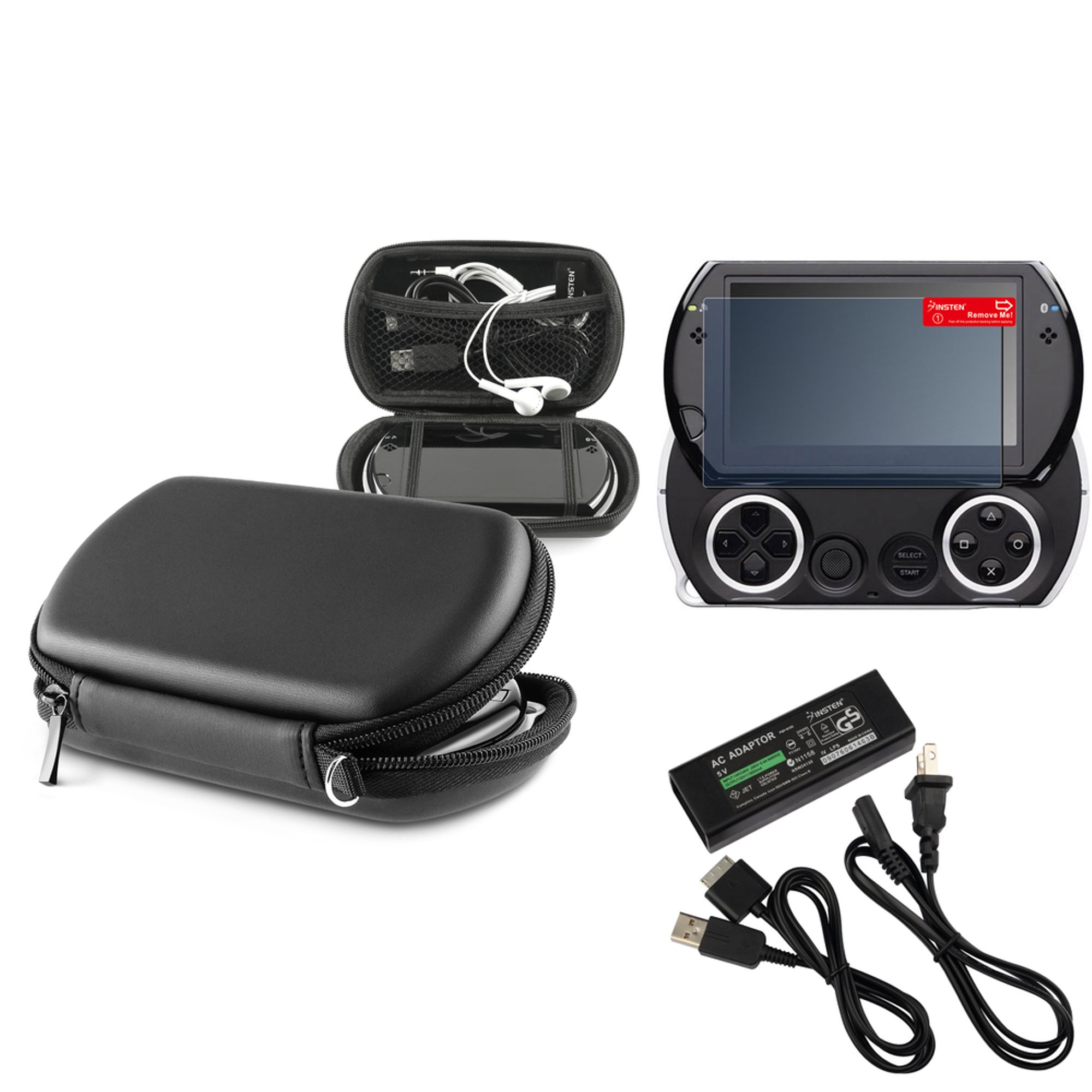 Insten For PSP Go - Black Hard EVA Protective Case + LCD Protector + AC Wall Charger Adapter