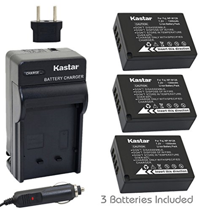 Kastar Battery (3-Pack) and Charger Kit for Fujifilm NP-W...