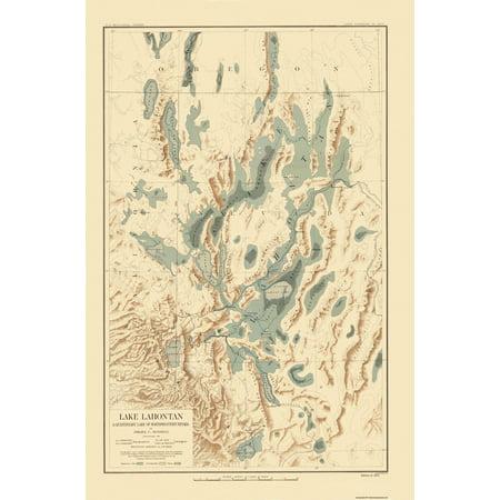 Old Topographical Map Print   Lake Lahontan Nevada  California   Bien 1892   23 X 34 94