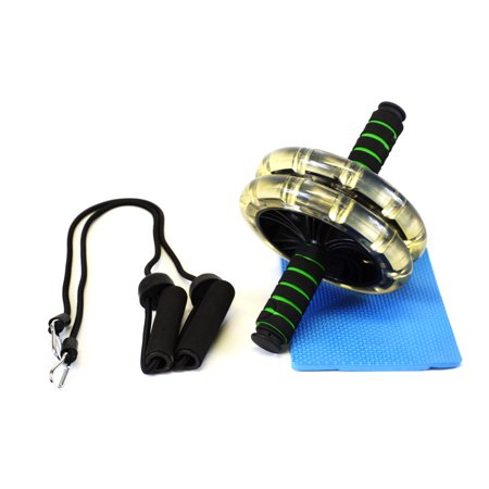 Abdominal Trainer Workout Wheel Exercise Home Gym Equipment Anti-Slip Handles Resistance Bands Pair Plus Knee Pad, Green ()