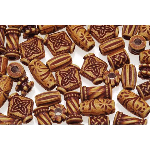 Bulk Buy: DIY Crafts Wood Look Plastic Beads Antique Natural Assorted Styles (3-Pack) 1980-86, Price includes 3-Packs of Wood Look Plastic Beads Antique.., By Darice