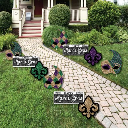 Mardi Gras - Mask and Fleur De Lis Lawn Decorations - Outdoor Masquerade Party Yard Decorations - 10 Piece for $<!---->