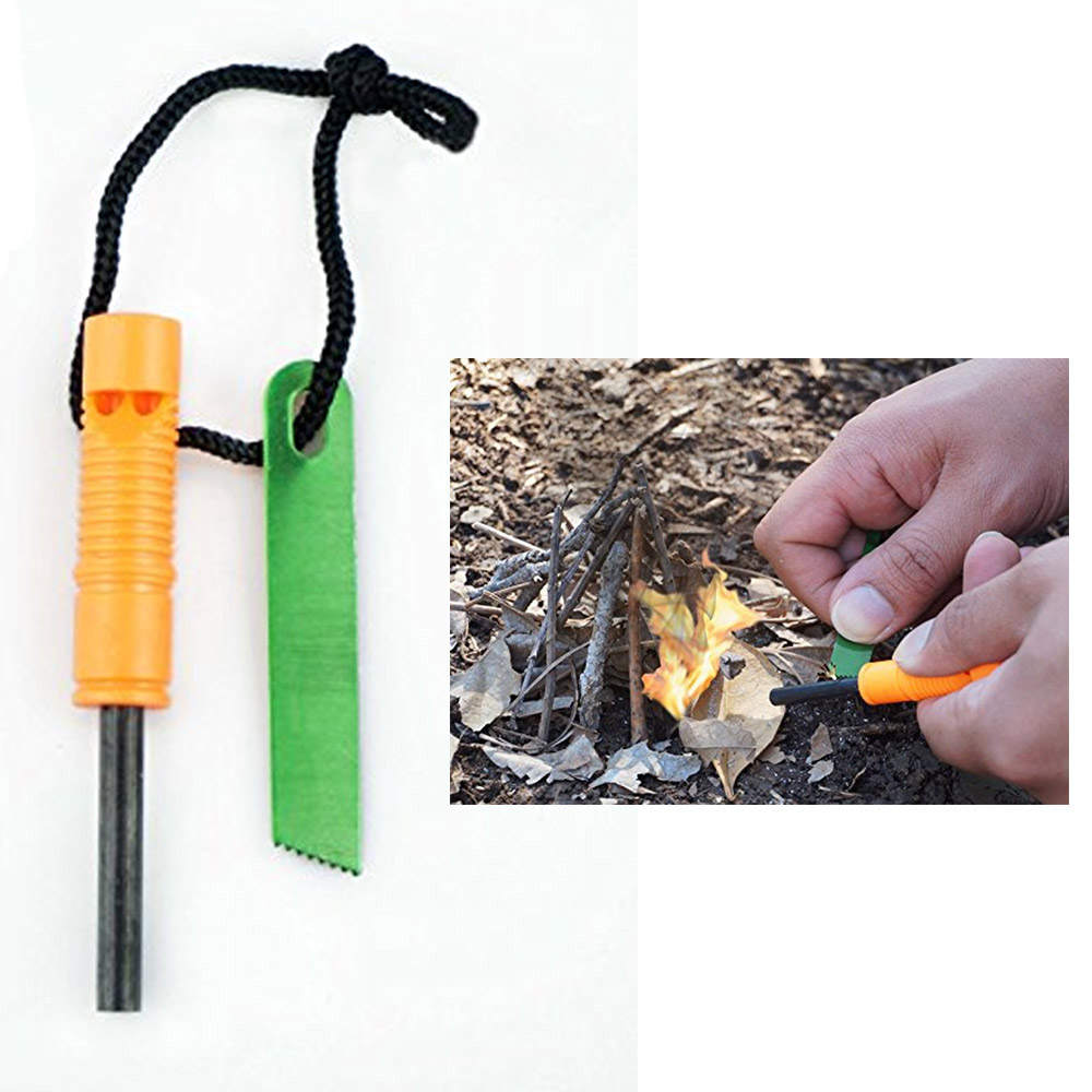 Emergency Magnesium Rod Fire Starter Scrapper Survival Kit Camping Tool Striker by SONA ENTERPRISES