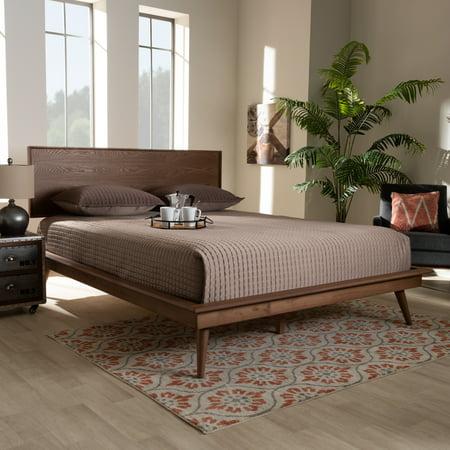 Baxton Studio Karine Mid-Century Modern Walnut Brown Finished Wood Queen Size Platform Bed Cappuccino Finish Queen Bed