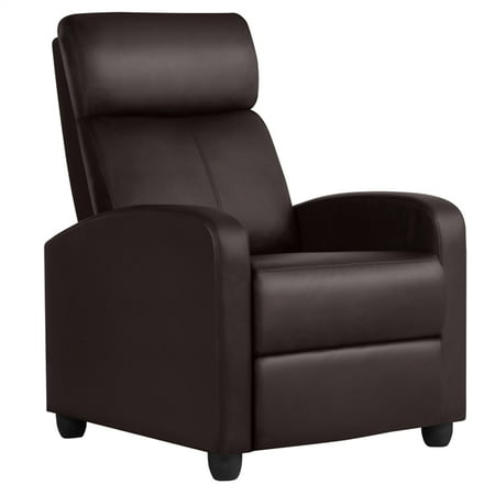 Yaheetech PU Leather Recliner Chair, Living Room Single Sofa, Home Theater Seating with Lumbar Support Overstuffed High-Density Sponge Manual (Best Recliner With Lumbar Support)