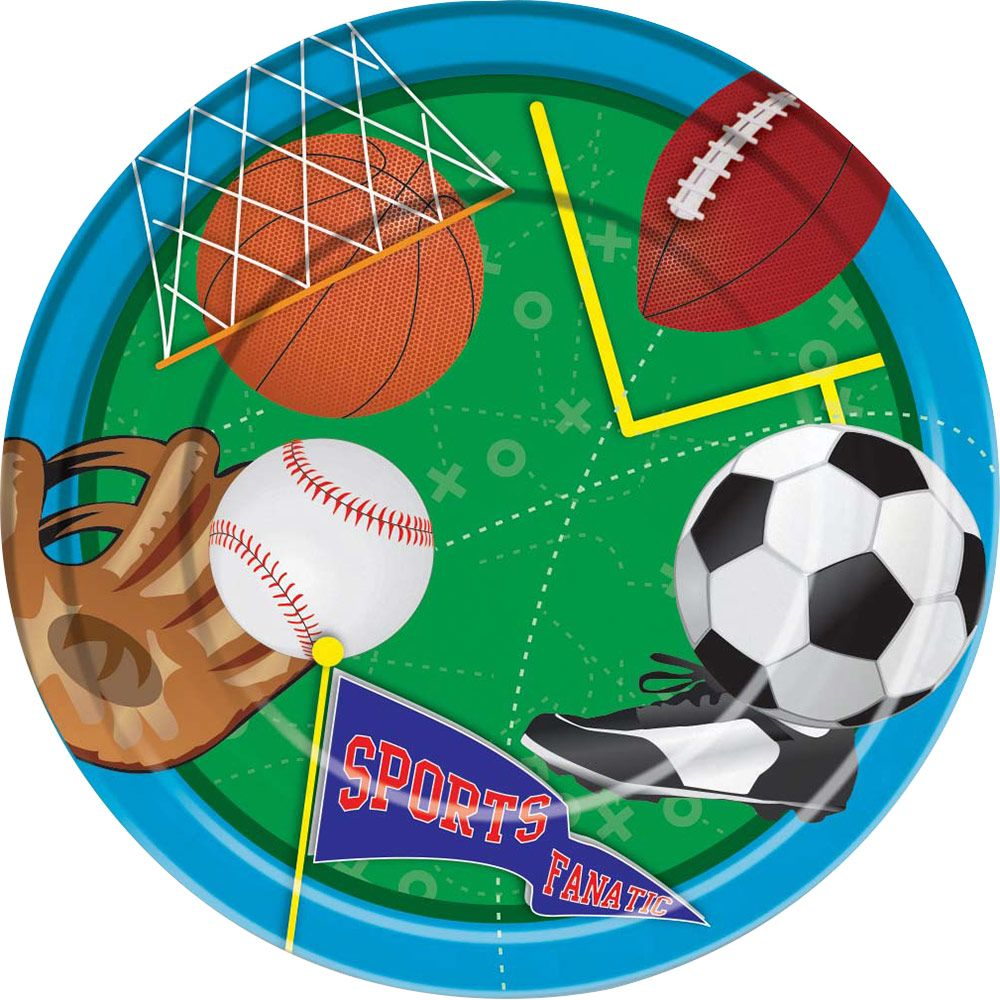 """Sports Party 9"""" Luncheon Plates (8 Pack) - Party Supplies"""