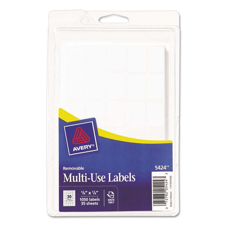 "Avery White Removable Rectangular Labels 5424, 5/8"" x 7/8"", Pack of 1000"