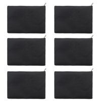 "Aspire 6-Pack Black Canvas Zipper Bags 7"" x 5"" Makeup Bags"