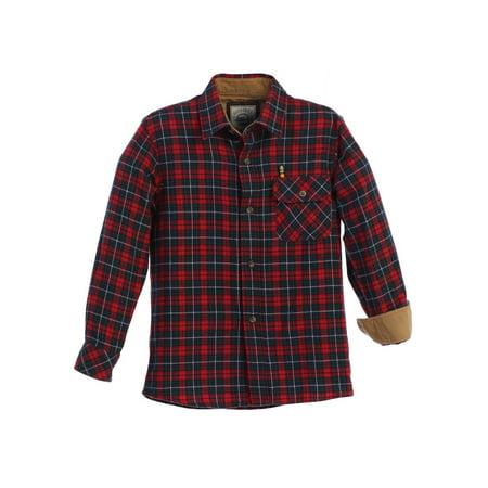 Gioberti Big Boys Red Navy Corduroy Contrast Flannel Plaid Shirt 8-18