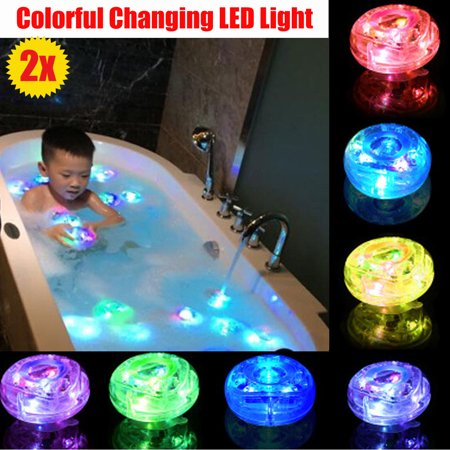 2PCS Waterproof LED Lamp Light Up Toys Kids Baby Bathroom Shower Time Tub Bath Swimming Pool Colorful Changing - Colorful Baby