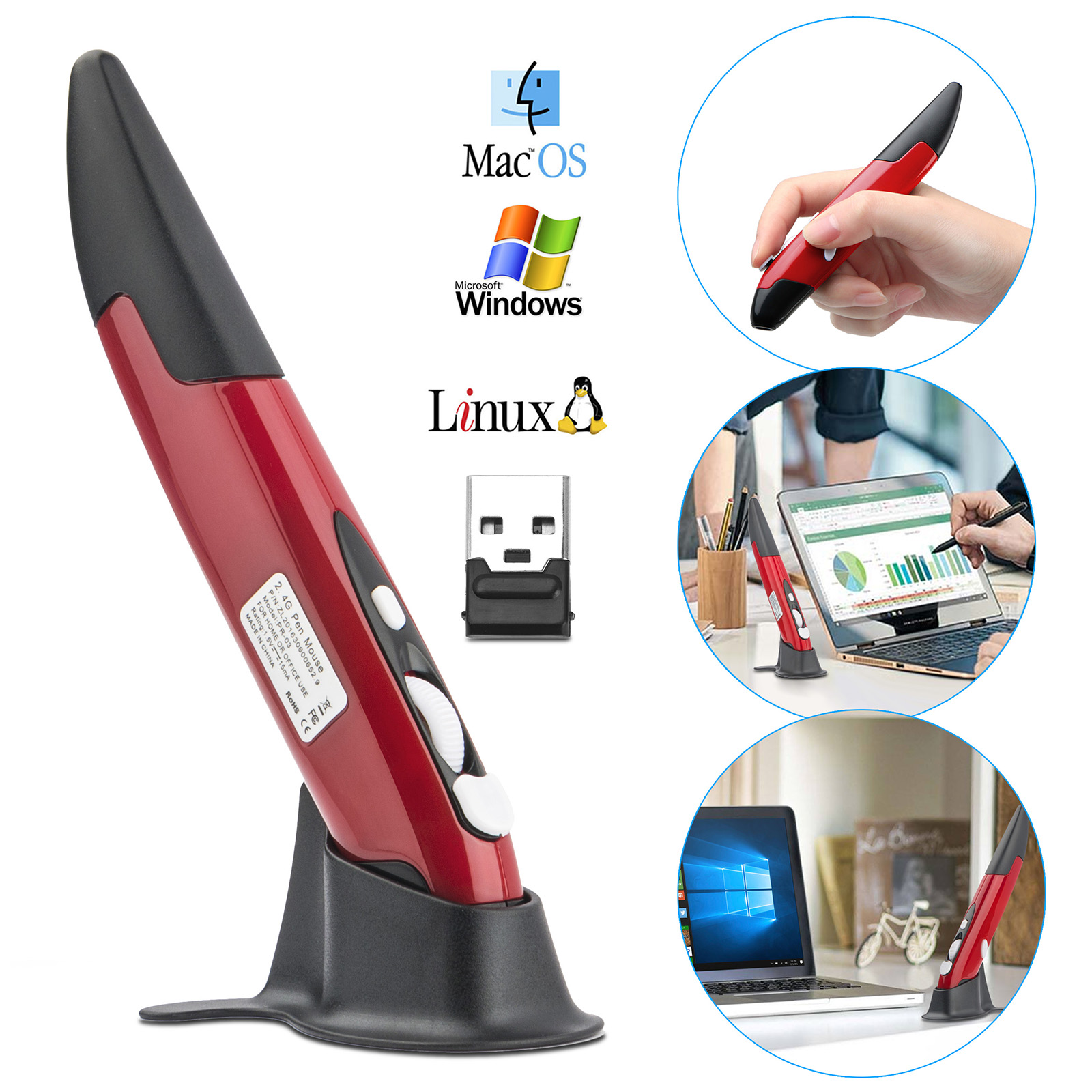 EEEKit 2.4G Write Pen Wireless Pointing Mouse Optical USB Pocket Drawing Write Pen Mini PC Mice, Red & Silver