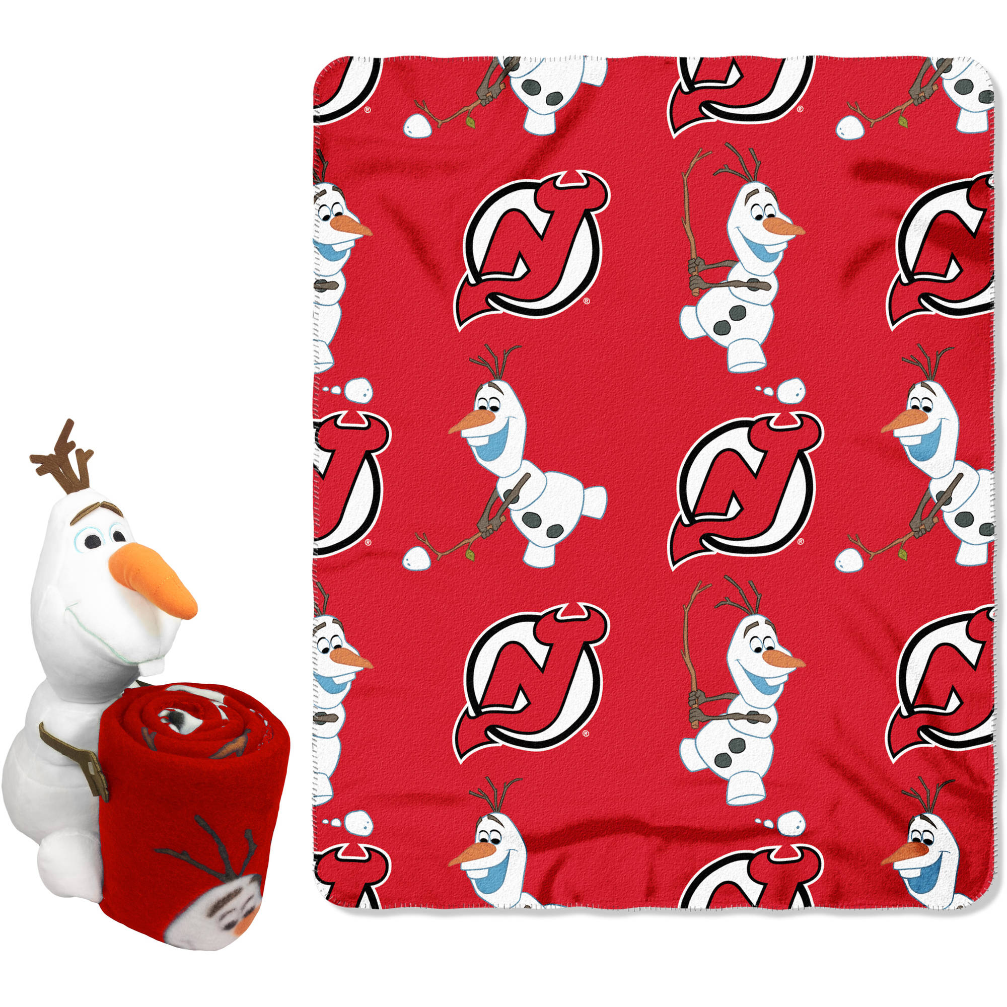 """Official NHL and Disney Cobrand New Jersey Devils Olaf Hugger Character Shaped Pillow and 40""""x 50"""" Fleece Throw Set"""