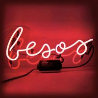 """Oliver Gal 'besos' Neon Sign- Red, 16"""" x 7"""""""