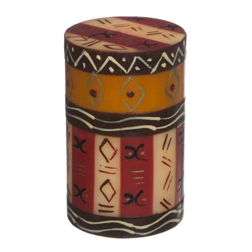 Global Crafts Single Boxed Handmade Pillar Candle with Bongazi Design (South Africa)